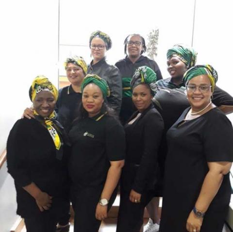 ANC Parliamentary Caucus Women staff as they honour the mother of the nation, Mama Winnie Nomzamo Madikizela Mandela